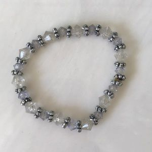 Silver tone and clear bead strategy bracelet